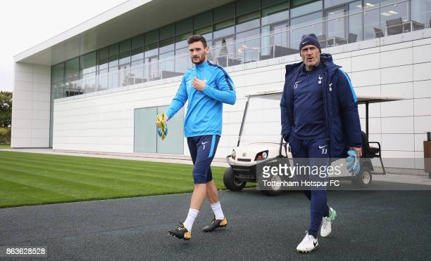 Hugo Lloris of Tottenham during the Tottenham Hotspur training session at Tottenham Hotspur Training Centre on October 20 2017 in Enfield England