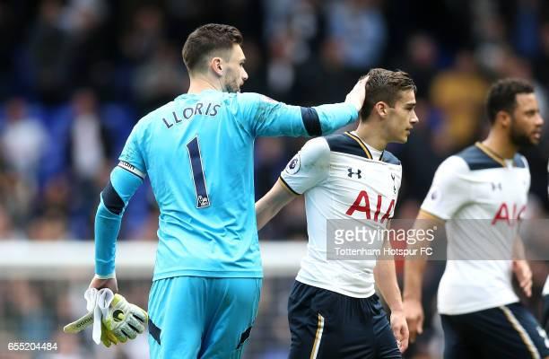 Hugo Lloris of Tottenham Hotspur and Mousa Dembele of Tottenham Hotspur embrace after the Premier League match between Tottenham Hotspur and...