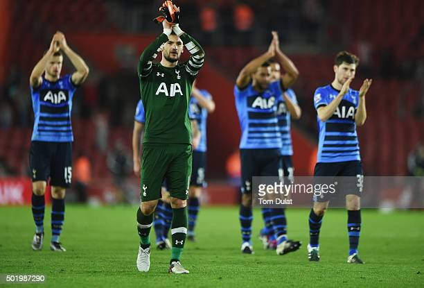 Hugo Lloris of Tottenham Hotspur and team mates applaud the travelling fans after the Barclays Premier League match between Southampton and Tottenham...