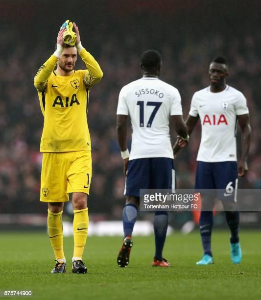 Hugo Lloris of Tottenham Hotspur applauds supporters after the Premier League match between Arsenal and Tottenham Hotspur at Emirates Stadium on...