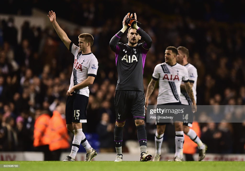 Hugo Lloris of Tottenham Hotspur applauds the fans after the Barclays Premier League match between Tottenham Hotspur and Norwich City at White Hart Lane on December 26, 2015 in London, England.