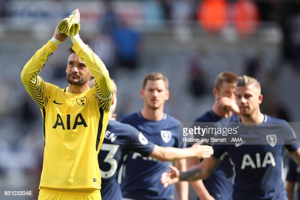 Hugo Lloris of Tottenham Hotspur applauds the fans at full time during the Premier League match between Newcastle United and Tottenham Hotspur at St...