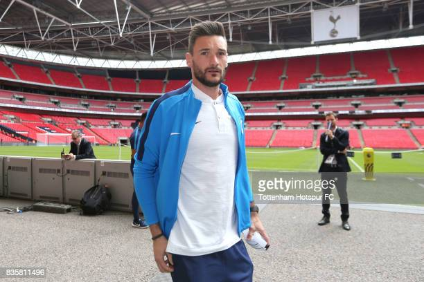 Hugo Lloris of Tottenham Hotspur arrives at the stadium prior to the Premier League match between Tottenham Hotspur and Chelsea at Wembley Stadium on...