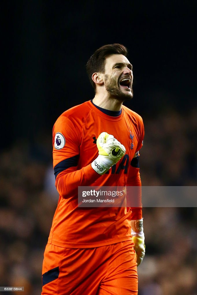 Hugo Lloris of Tottenham Hotspur celebrates after Harry Kane of Tottenham Hotspur scored the opening goal from the penalty spot during the Premier League match between Tottenham Hotspur and Middlesbrough at White Hart Lane on February 4, 2017 in London, England.