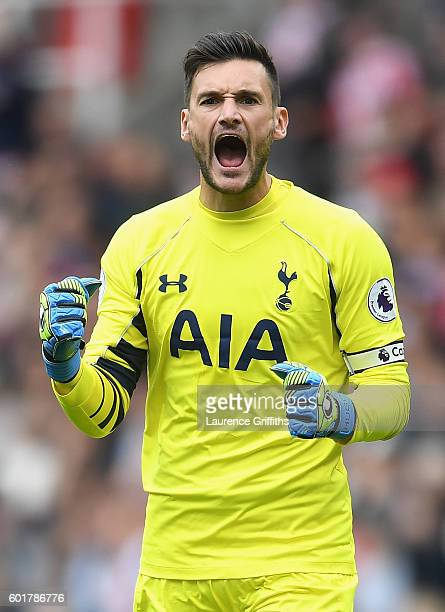Hugo Lloris of Tottenham Hotspur celebrates after his sides first goal during the Premier League match between Stoke City and Tottenham Hotspur at...