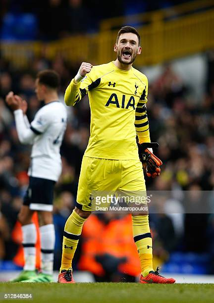 Hugo Lloris of Tottenham Hotspur celebrates after the Barclays Premier League match between Tottenham Hotspur and Swansea City at White Hart Lane on...