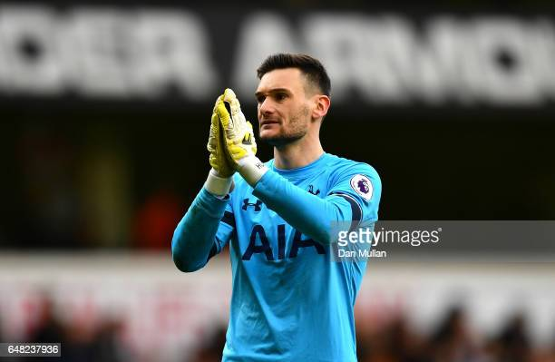 Hugo Lloris of Tottenham Hotspur celebrates after the final whistle during the Premier League match between Tottenham Hotspur and Everton at White...