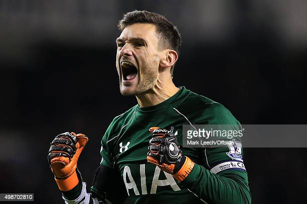Hugo Lloris of Tottenham Hotspur celebrates during the Barclays Premier League match between Tottenham Hotspur and West Ham United at White Hart Lane...