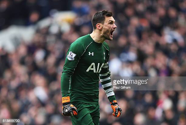 Hugo Lloris of Tottenham Hotspur celebrates during the Barclays Premier League match between Tottenham Hotspur and Arsenal at White Hart Lane on...