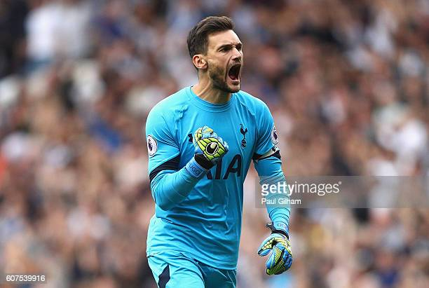 Hugo Lloris of Tottenham Hotspur celebrates his sides first goal during the Premier League match between Tottenham Hotspur and Sunderland at White...