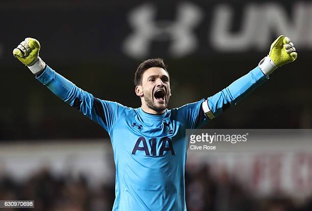 Hugo Lloris of Tottenham Hotspur celebrates his sides first goal during the Premier League match between Tottenham Hotspur and Chelsea at White Hart...