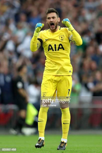 Hugo Lloris of Tottenham Hotspur celebrates his sides first goal during the Premier League match between Tottenham Hotspur and Chelsea at Wembley...