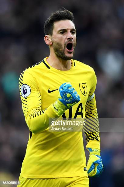 Hugo Lloris of Tottenham Hotspur celebrates his sides fourth goal during the Premier League match between Tottenham Hotspur and Liverpool at Wembley...