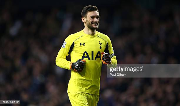 Hugo Lloris of Tottenham Hotspur celebrates his team's first goal during the Barclays Premier League match between Tottenham Hotspur and Watford at...