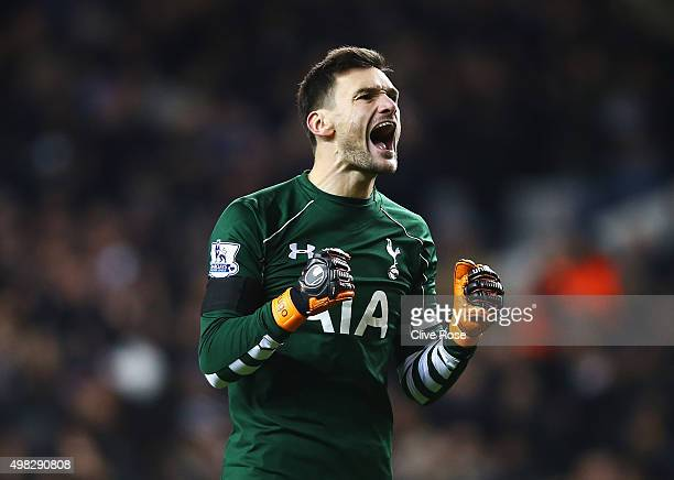 Hugo Lloris of Tottenham Hotspur celebrates his teams fourth goal during the Barclays Premier League match between Tottenham Hotspur and West Ham...