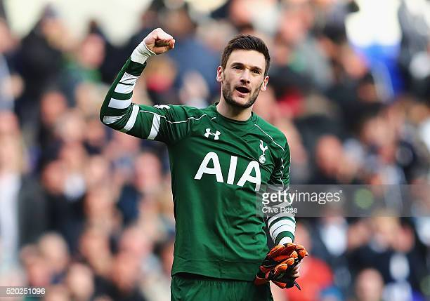 Hugo Lloris of Tottenham Hotspur celebrates victory after the Barclays Premier League match between Tottenham Hotspur and Manchester United at White...