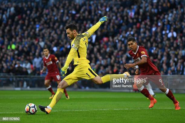 Hugo Lloris of Tottenham Hotspur clears the ball during the Premier League match between Tottenham Hotspur and Liverpool at Wembley Stadium on...