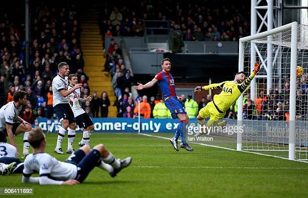 Hugo Lloris of Tottenham Hotspur dives for the ball in vain as the Jan Vertonghen of Tottenham Hotspur scores an own goal during the Barclays Premier...