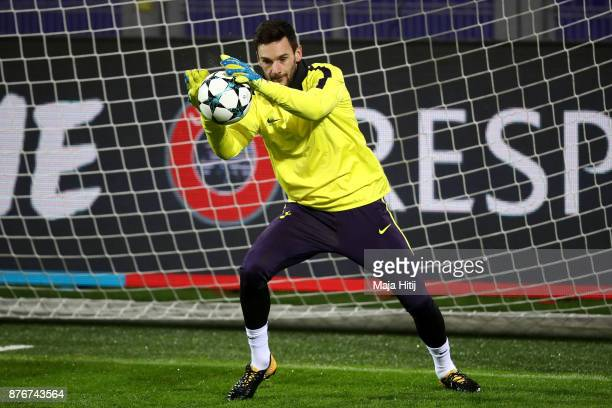 Hugo Lloris of Tottenham Hotspur during a Tottenham Hotspur training session ahead of the Chamions League Group H match between Borussia Dortmund and...