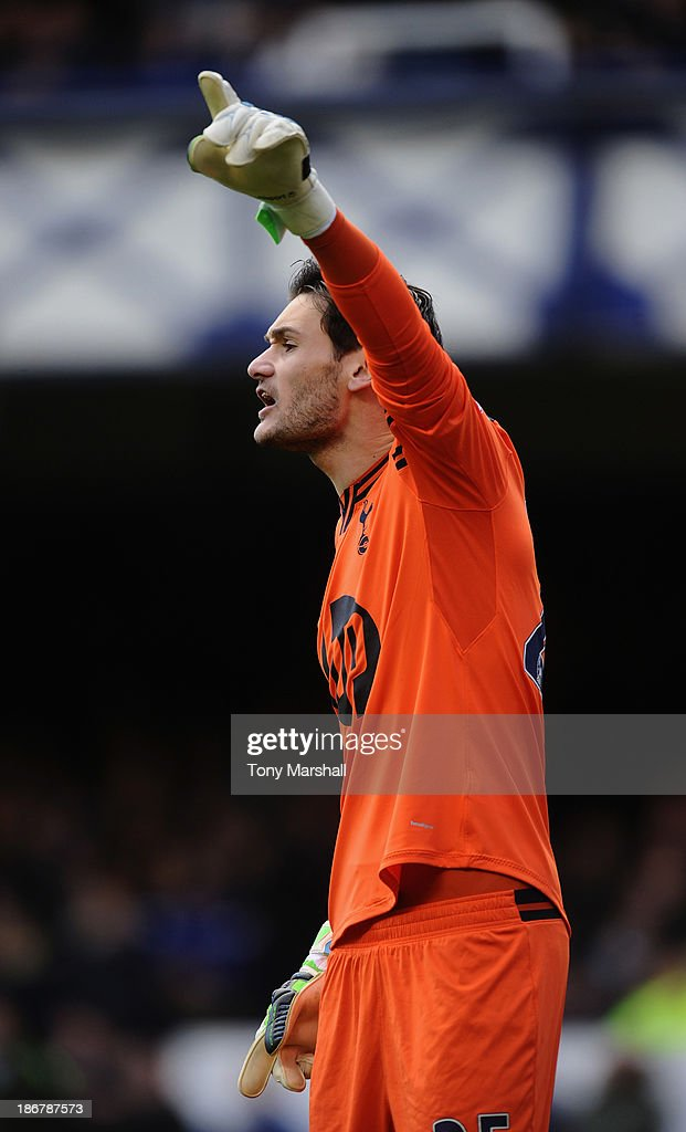 Hugo Lloris of Tottenham Hotspur during the Barclays Premier League match between Everton and Tottenham Hotspur at Goodison Park on November 3, 2013 in Liverpool, England.