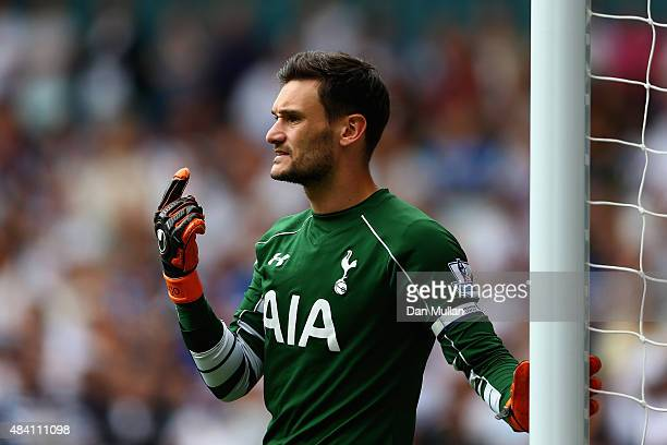 Hugo Lloris of Tottenham Hotspur gestures during the Barclays Premier League match between Tottenham Hotspur and Stoke City at White Hart Lane on...