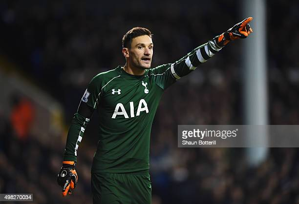 Hugo Lloris of Tottenham Hotspur gives instructions during the Barclays Premier League match between Tottenham Hotspur and West Ham United at White...