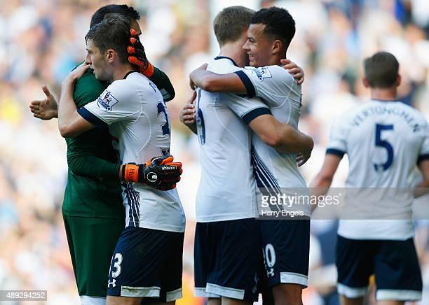 Hugo Lloris of Tottenham Hotspur hugs Ben Davies of Tottenham Hotspur after victory in the Barclays Premier League match between Tottenham Hotspur...