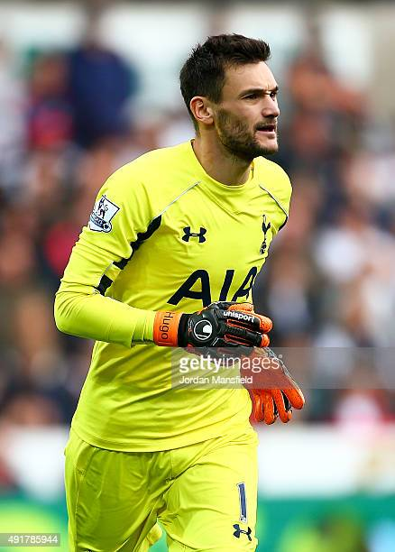 Hugo Lloris of Tottenham Hotspur in action during the Barclays Premier League match between Swansea City and Tottenham Hotspur at Liberty Stadium on...