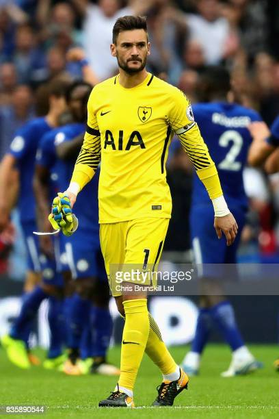 Hugo Lloris of Tottenham Hotspur looks dejected after the Premier League match between Tottenham Hotspur and Chelsea at Wembley Stadium on August 20...