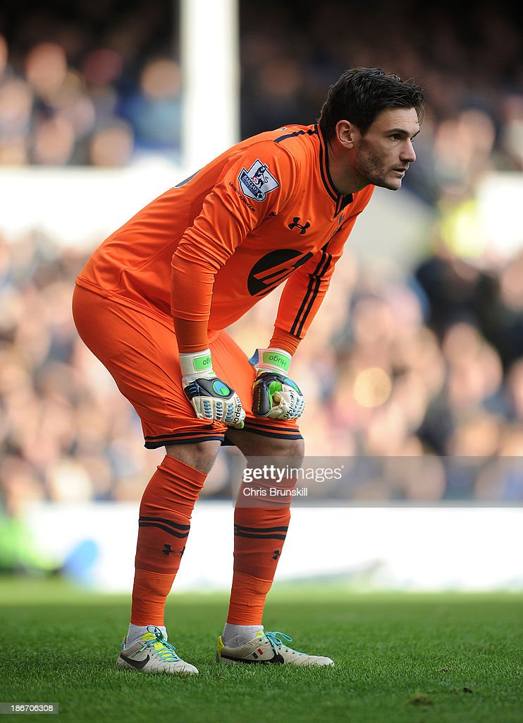 Hugo Lloris of Tottenham Hotspur looks on during the Barclays Premier League match between Everton and Tottenham Hotspur at Goodison Park on November 03, 2013 in Liverpool, England.