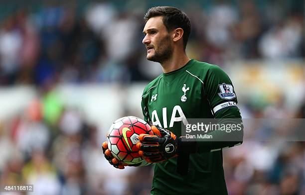 Hugo Lloris of Tottenham Hotspur looks on during the Barclays Premier League match between Tottenham Hotspur and Stoke City on August 15 2015 in...