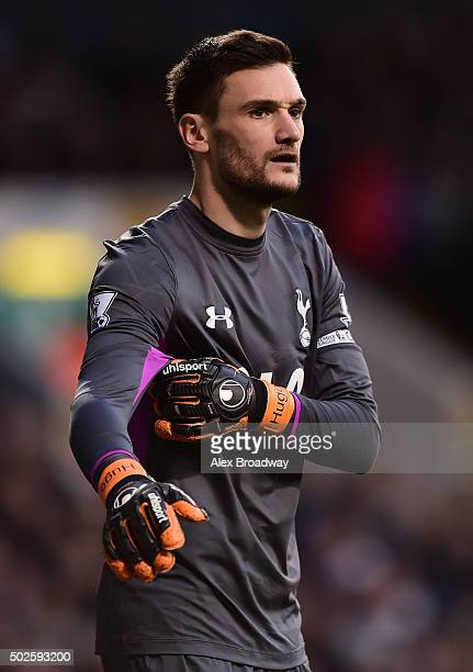 Hugo Lloris of Tottenham Hotspur looks on during the Barclays Premier League match between Tottenham Hotspur and Norwich City at White Hart Lane on...