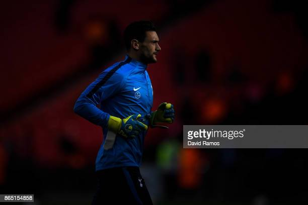 Hugo Lloris of Tottenham Hotspur looks on during the wamr up prior to the Premier League match between Tottenham Hotspur and Liverpool at Wembley...