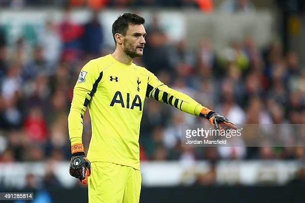 Hugo Lloris of Tottenham Hotspur makes a point during the Barclays Premier League match between Swansea City and Tottenham Hotspur at Liberty Stadium...
