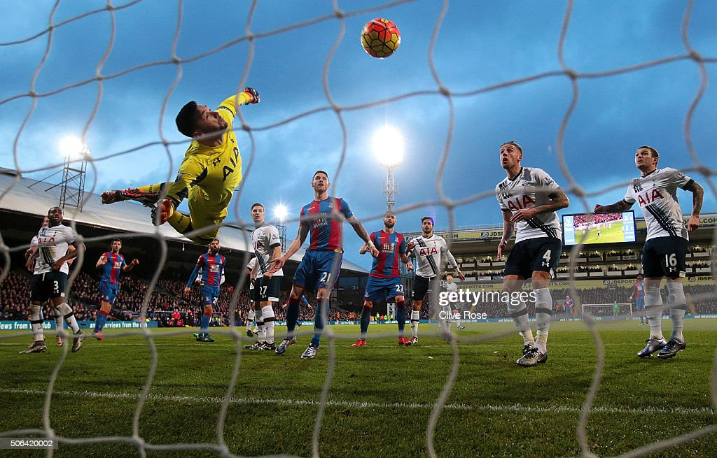 Hugo Lloris of Tottenham Hotspur makes a save during the Barclays Premier League match between Crystal Palace and Tottenham Hotspur at Selhurst Park on January 23, 2016 in London, England.
