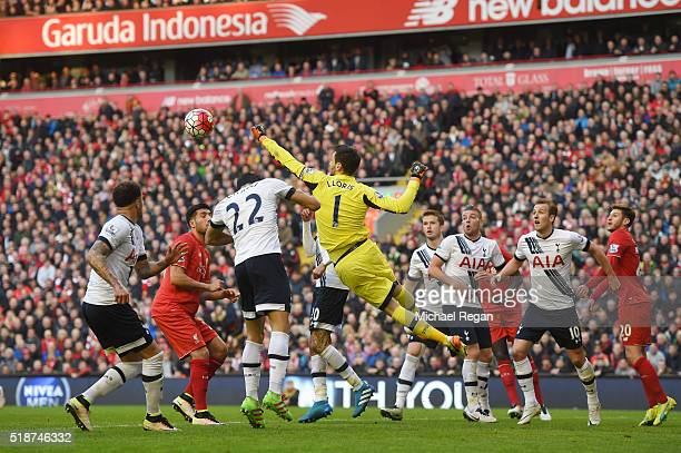Hugo Lloris of Tottenham Hotspur punches the ball during the Barclays Premier League match between Liverpool and Tottenham Hotspur at Anfield on...