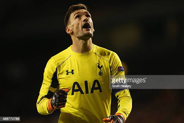 Hugo Lloris of Tottenham Hotspur reacts after Erik Lamela of Tottenham Hotspur scored their third goal during the UEFA Europa League Group J match...