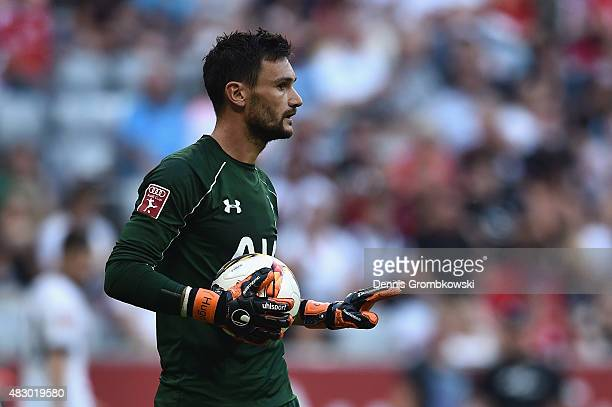 Hugo Lloris of Tottenham Hotspur reacts during the Audi Cup 2015 match between Tottenham Hotspur and AC Milan at Allianz Arena on August 5 2015 in...