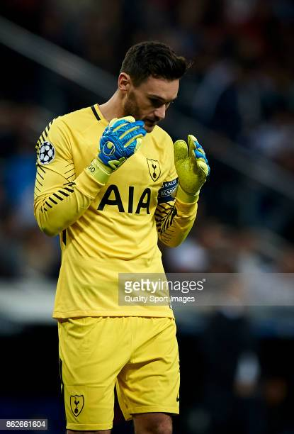 Hugo Lloris of Tottenham Hotspur reacts during the UEFA Champions League group H match between Real Madrid and Tottenham Hotspur at Estadio Santiago...