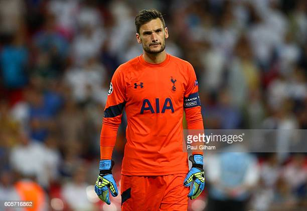 Hugo Lloris of Tottenham Hotspur reacts during the UEFA Champions League match between Tottenham Hotspur FC and AS Monaco FC at Wembley Stadium on...
