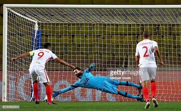 Hugo Lloris of Tottenham Hotspur saves a penalty from Radamel Falcao Garcia of AS Monaco during the UEFA Champions League Group E match between AS...
