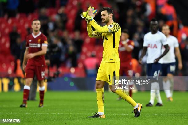 Hugo Lloris of Tottenham Hotspur shows appreciation to the fans after the Premier League match between Tottenham Hotspur and Liverpool at Wembley...