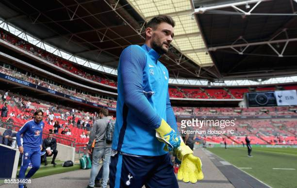 Hugo Lloris of Tottenham Hotspur walks out to warm up prior to the Premier League match between Tottenham Hotspur and Chelsea at Wembley Stadium on...