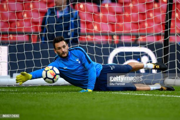 Hugo Lloris of Tottenham Hotspur warms up prior to the Premier League match between Tottenham Hotspur and Liverpool at Wembley Stadium on October 22...