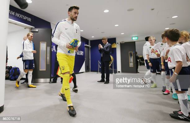 Hugo Lloris of Tottenham prepares to walk out prior to the Premier League match between Tottenham Hotspur and AFC Bournemouth at Wembley Stadium on...