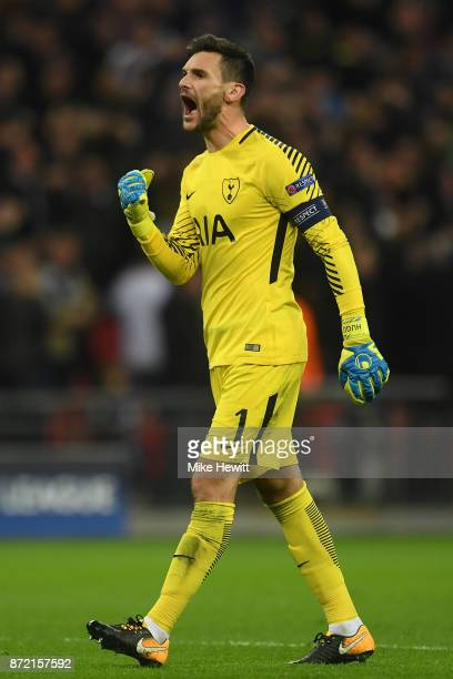 Hugo Lloris of Tottenham reacts during the UEFA Champions League group H match between Tottenham Hotspur and Real Madrid at Wembley Stadium on...