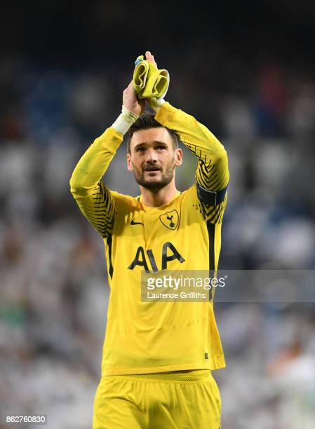 Hugo Loris of Tottenham Hotspur applauds the traveling fans after drawing the UEFA Champions League group H match between Real Madrid and Tottenham...