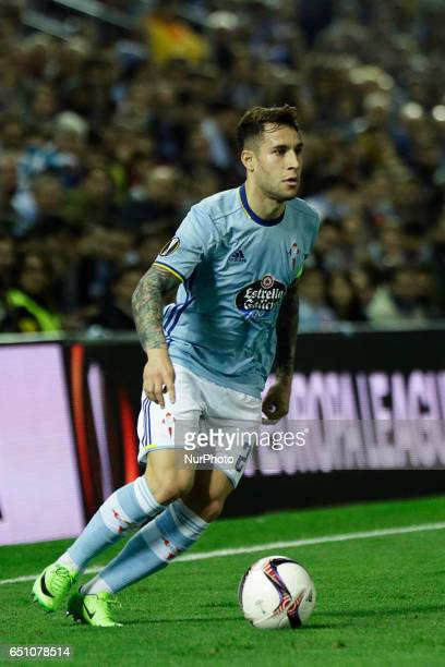 Hugo Mallo defender of Celta de Vigo drives the ball during the UEFA Europa League Round of 8 first leg match between Celta de Vigo and Krasnodar FC...