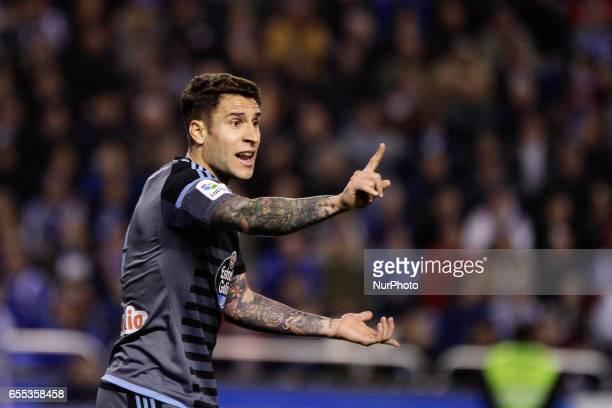Hugo Mallo defender of Celta de Vigo reacts during the La Liga Santander match between Deportivo de La Coruña and Celta de Vigo at Riazor Stadium on...