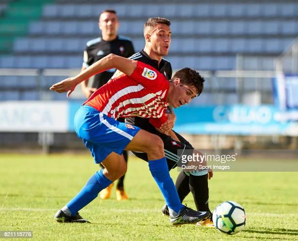 Hugo Mallo of Celta de Vigo competes for the ball with Pablo Perez of Sporting de Gijon during the preseason friendly match between Celta de Vigo and...